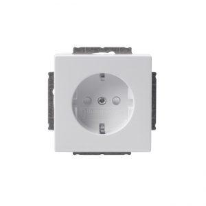 ABB Impressivo 1-os maadoitettu pistorasia, valkoinen (keskiölevyllinen)