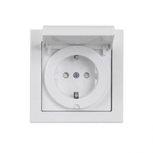 ABB Impressivo 1-os maadoitettu pistorasia IP21/IP44, valkoinen (peitelevyllinen)