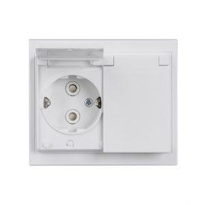 ABB Impressivo 2-os maadoitettu pistorasia IP21/IP44, valkoinen (peitelevyllinen)
