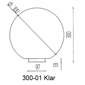 Pallokupu Ø300mm mittakuva